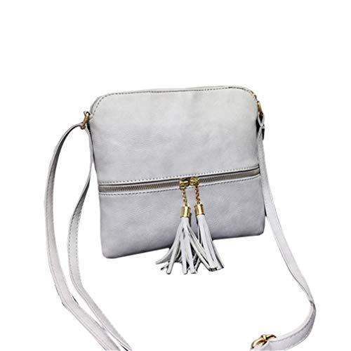 QIHang Lightweight Medium Dome Crossbody Bag Shoulder Bag with Double Zipper Pockets for Woman,Light Grey