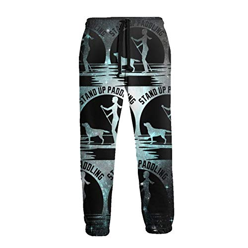 A10ZXCZ Stand Up Paddle Board Men's Boys Sweatpants with Pockets Open Bottom Athletic Pants White