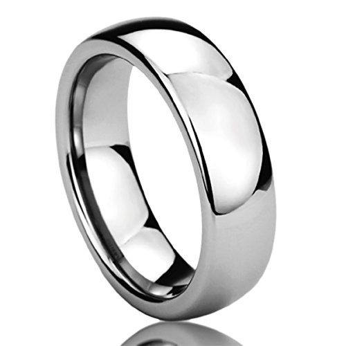 Prime Pristine 6mm Stainless Steel Wedding Band Ring for Men & Women High Polished Classy Domed Ring for Men & Woman SZ: 8