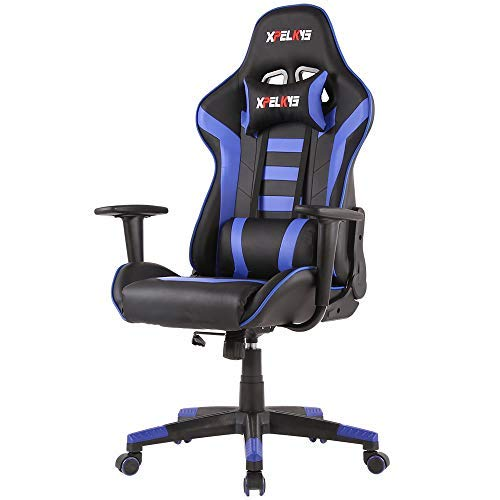 XPELKYS Office Chair Gaming Chair Video Game Chair Computer Game Chair, Racing Style High Back PU Leather Chair Executive and Ergonomic Style Swivel Chair with Headrest and Lumbar Support (Blue-09) chairs Desk Dining Features Home Kitchen Office