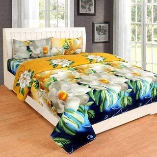 Modern Fab 180 TC Glace Cotton 1 Double 3D Luxury Bedsheet with 2 Pillow Covers - Floral, Multicolour