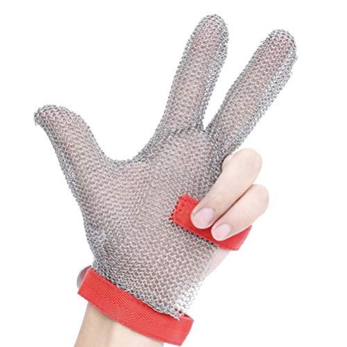 Schnittfeste Handschuhe-XHZ DREI-Finger-Edelstahl-Metallhandschuhe, Stahldrahthandschuhe, Anti-Schnitt-Handschuhe, Anti-Schnitt-Handschuhe, Küchenschneiden von Gemüse grau, Größe: XS - L.