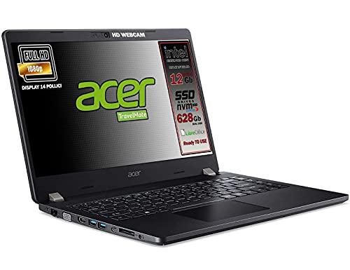 Notebook SSD Acer Intel Gold 6405U, RAM 12GB, dual SSD 628 GB , display 14  Full HD, 4 usb, wi-fi, hdmi, BT, webcam, Win 10 pro, Libre Office, Pronto all Uso, Garanzia e tastiera Italiana