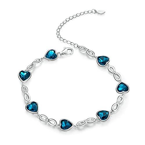 Pulsera Cristal Azul Amor Infinito Plata Ley 925 Pulsera Eslabones Ajustables Encanto Madre para Mujer Cumpleaños Aniversario Regalo Joyería