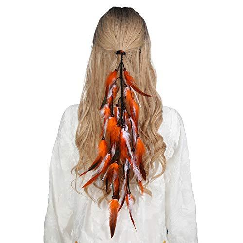 Feder Haarband Quaste Indian Hippie Kopfschmuck - Boho Indian Federschmuck für Vintage Festival Stirnband Kopfbedeckung mit Perlen Maskerade Kostüm(Orange + Weiß)