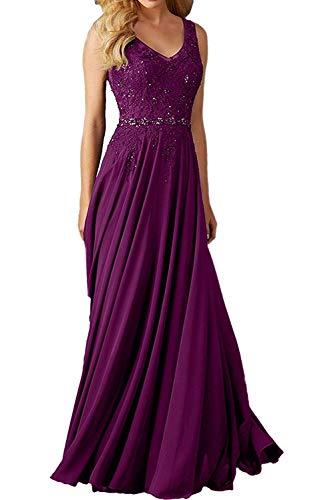 Beyonddress Damen Abendkleider Für Hochzeit Elegant Applikation Brautjungfer Kleider Ballkleider(Violett,44)