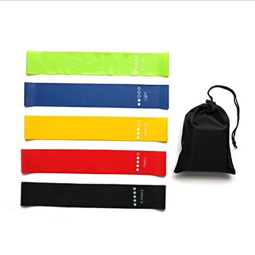 HUO FEI NIAO Widerstand-Bänder, 5 Verschiedene Bänder, Hautfreundliche Widerstand Fitness Übungsband, geeignet for Gymnastik, Yoga