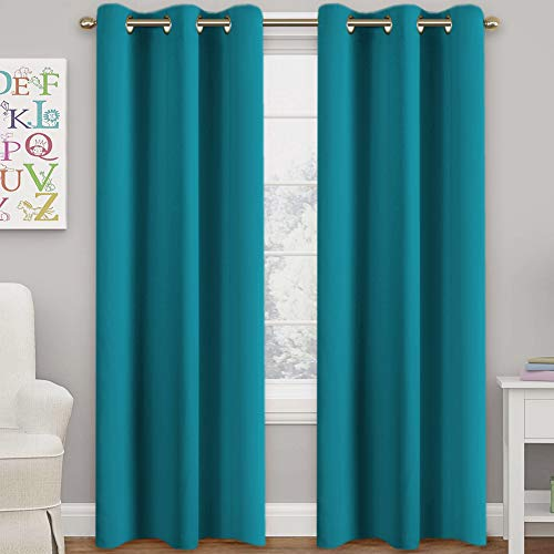 """Teal Blackout Curtains Themal Insulated Grommet/Eyelet Top Window Treatment Nursery & Infant Care Panels Drapes, Each Panel 42"""" W x 84"""" L"""