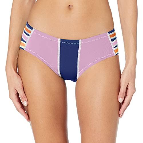 Cynthia Rowley Women's Color Block Fiber-Lite Bikini Bottom, Peach/Navy Blue/Aster, Medium