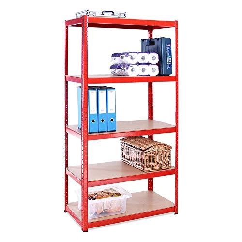 Lagerregal für Garage: 180 cm x 90 cm x 45 cm | Rot - 5 Stufig | 265 kg pro Regal (1325 kg Kapazität) | 5 Jahre Garantie