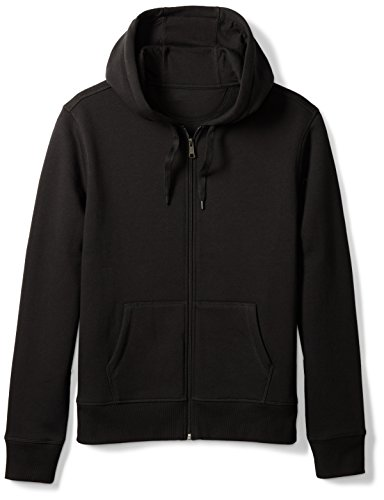 Amazon Essentials Men's Full-Zip Hooded Fleece Sweatshirt, Black, Medium