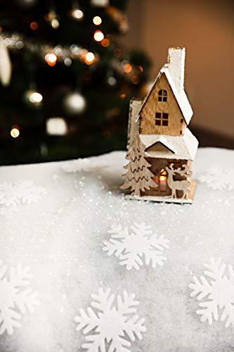 HEITMANN DECO Schnee-Set - Deko Schneeflocken Weihnachtsdeko, Kunstschnee, Winterdeko aus Schnee-Watte - Weihnachtsdekoration