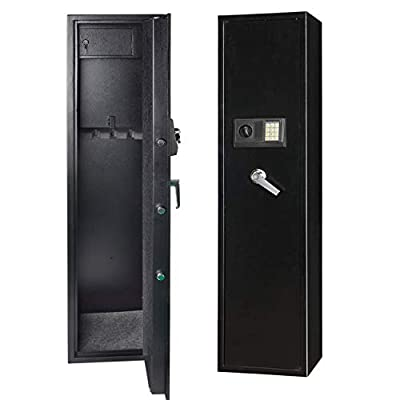 Gearmart Fast Access Rifle Safe Large and Durable for 5-Gun Shotgun Cabinet (Larger Rifle Safe-Electronic)