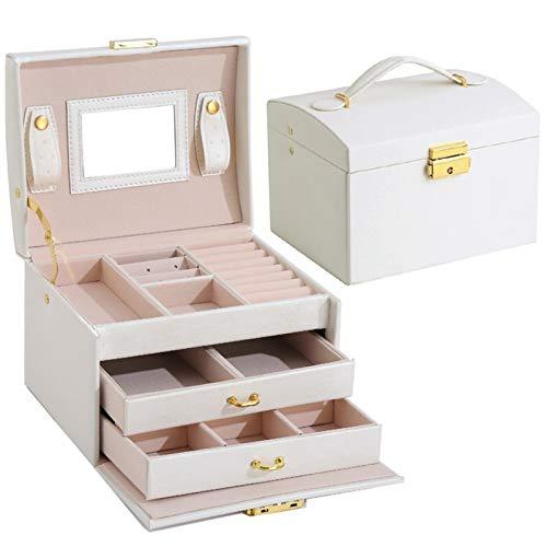Earthily Chica caja de música, Caja de joyería de los niños caja de joyería de tres capas caja de joyería con espejo chica de alta capacidad collar pendientes anillos pulseras caja de almacenamiento