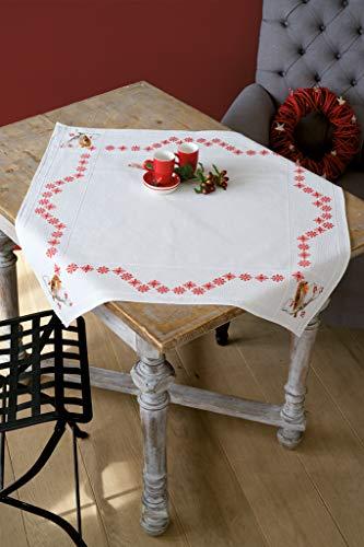 Vervaco Aida Decke Rotkehlchen Kreuzstichpackung, Weiß, 80 x 80 x 0,30 cm