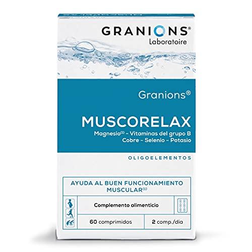 GRANIONS Muscorelax - Comprimidos de relajación muscular - Oligoelemento - funcionamiento normal de los músculos - 60 Comprimidos - 30 Dias - Testado en laboratorio