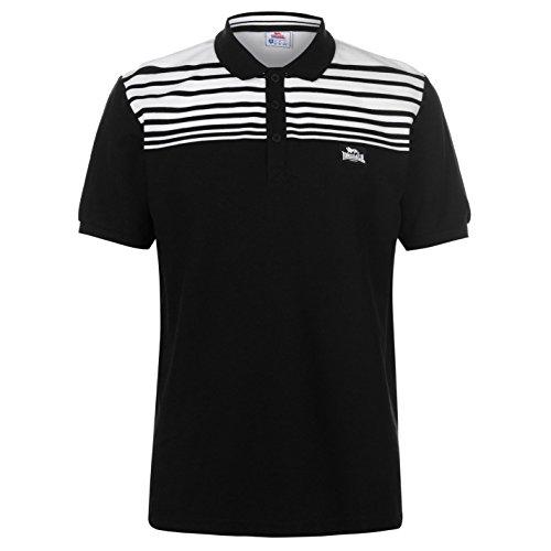 Lonsdale Herren Polo Shirt Gestreift Kurzarm Schwarz/Weiß 2XL