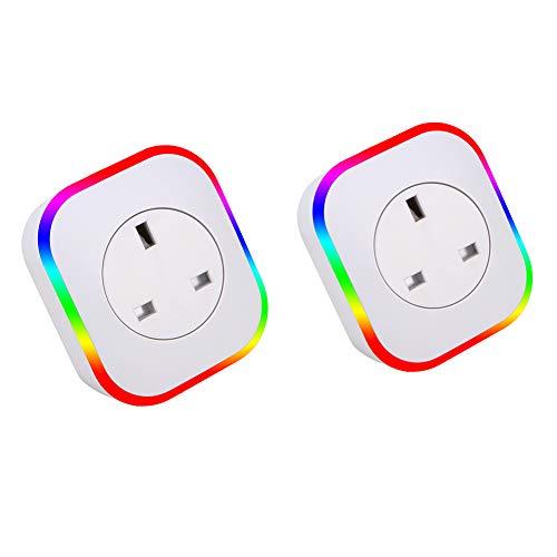 Wifi Smart Socket Smart Plug Mini Met Night Light Timer Function Device Sharing Muur Plug Voice Control ON/Off Power Support Google Alexa Echo/Echo Dot, IFTTT Nee Hub Benodigd (2 Stuks)