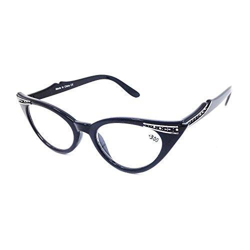 Dawnzen Mujer Gafas de Lectura Gafas de Gato Montura, 50's Montura Ojo De Gato Lente +3.00 Dioptrías Vintage gafas para Presbicia Vista Cansada