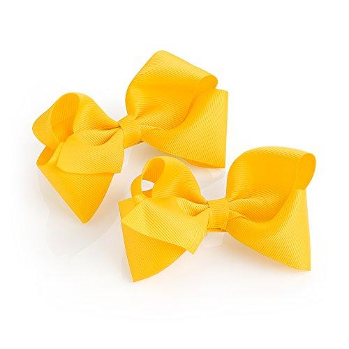 Pair of Girls Yellow Ribbon Style Bow Hair Beak Clips Slides