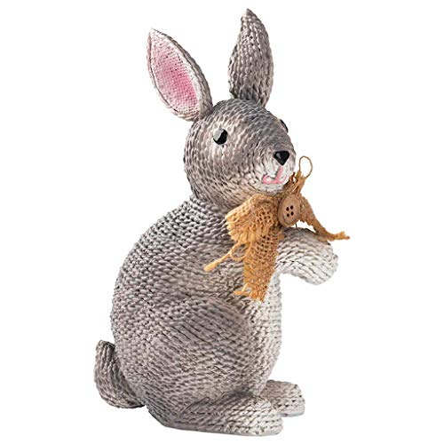 Escultura de estatua de conejo de resina, decoración del hogar Conejo de Pascua Decoración de interiores Adornos Decoraciones de escritorio de oficina H19.8CM para jardín de casa, Ornamento Estatu
