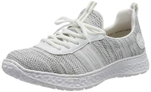 Rieker Damen Frühjahr/Sommer N4153 Sneaker, Weiß (Clear/Weiss-Rauch/Weiss/ 80 80), 36 EU