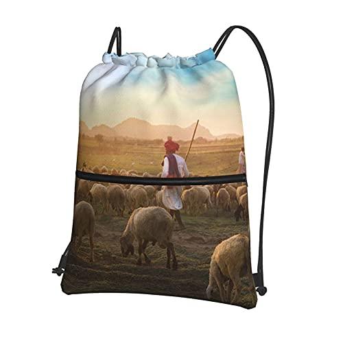 AOOEDM Bolso del gimnasio de los deportes de la prenda impermeable de la mochila del lazo del pasto de la puesta del sol con la cremallera, mochila unisex