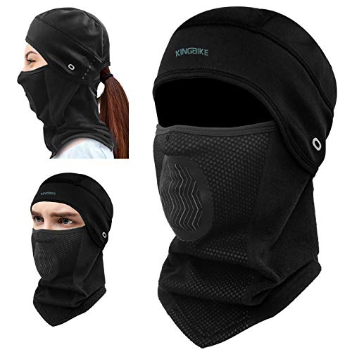 KINGBIKE Balaclava Ski Mask Motorcycle Running Full Face Cover Windproof Waterproof Neoprene With Micro-polar Fleece Masks Black for Men Women Warm Winter Cold Weather Gear Cycling Ponytail Hole-black