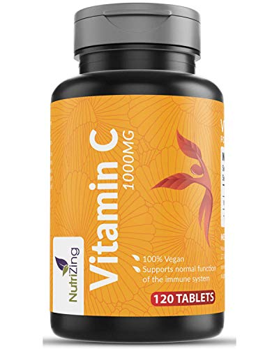 High Strength Vitamin C 1000mg - 120 Tablets - Easy to Dissolve - Supports Maintenance of Immune System - Made in UK by NutriZing