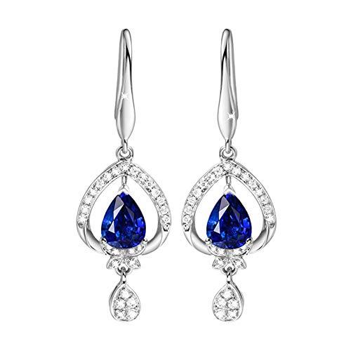 Beydodo Pendiente de Mujer de Plata Azul,Pendientes Mujer Oro Blanco 18 Kilates Gota de Agua con Diamante Zafiro Azul 1ct-2ct