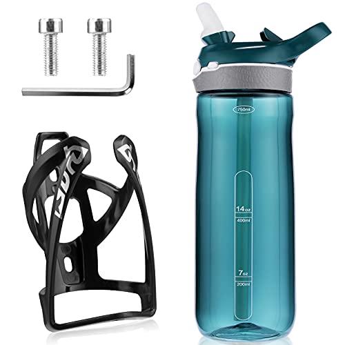 Soporte para botellas con botella de agua para bicicleta, soporte para bebidas con botella de agua de 750 ml, ligero y fuerte, para bicicleta de montaña, de carretera, bicicleta
