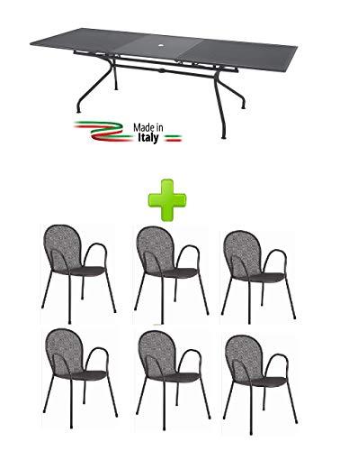EMU Table pour extérieur extensible, modèle Athena de marque Dimensions 160 + 50 x 90 h cm – Couleur fer antique + 6 fauteuils ronds avec accoudoirs, fabriqué en Italie