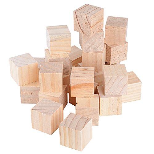 24pcs 4x4x4cm Cubos Madera Bloques Cuadrados para Manualidades Diy Artesanía Pintar Decoración