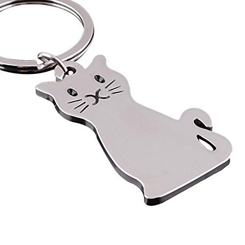 Hacoly - Llavero de Gato con Colgante de Gato Plateado, llaveros Decorativos, Accesorios para Llaves de Coche, Llavero para Colgar y Regalo para Hombres y Mujeres