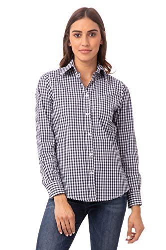 Chef Works Women's Medium Gingham Dress Shirt, Navy & White Check