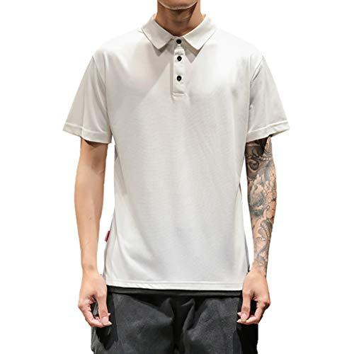 Xmiral T-Shirt Herren Einfacher Revers-Colorblock mit kurzen Ärmeln Kurzarmshirt Männer Beiläufige Kurze Hülse T-Shirt Hemd Poloshirt Oberteile(Weiß,XL)