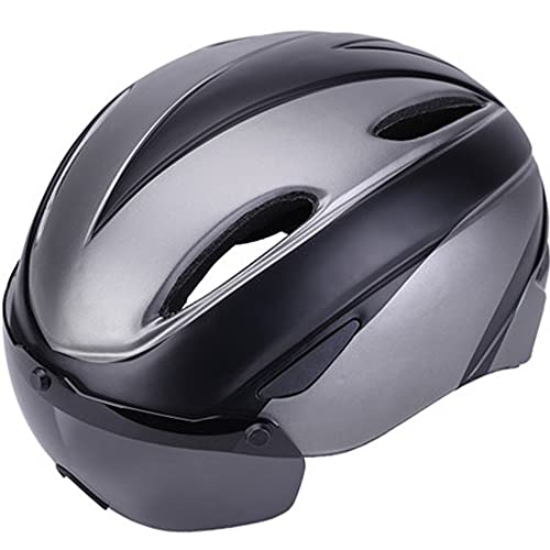ZXJJD Casco de Bicicleta para Adultos, Cascos de Bicicleta de montaña y de Carreras con Gafas extraíbles, Casco de Bicicleta de montaña de tamaño Ajustable para Hombres y Mujeres A