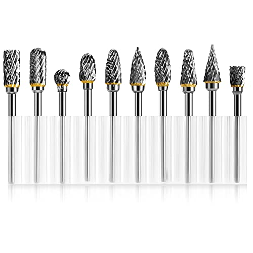 PTOUGE Tungsten Carbide Rotary Burr Set-10 Pcs, Carving Burr Bits, with 3mm Shank 6mm Grinding Head for Wood & Stone Carving, Polishing, Steel Metal Working