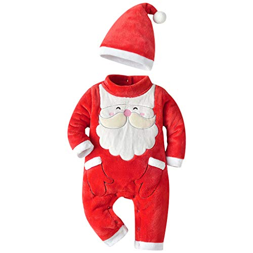 Toodii Baby Girl's and Baby Boy's Thick Christmas Santa Warm Jumpsuit Hat Set Outfits (Red, 6-12 Months)