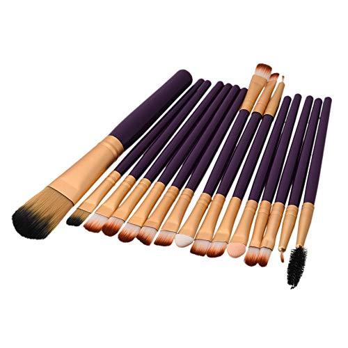 GCY Pinceau de maquillage Ensemble de pinceaux de maquillage 15 pièces Ensemble de pinceaux Ensemble d'outils de pinceau de maquillage Eyeliner Synthèse naturelle-Violet-or