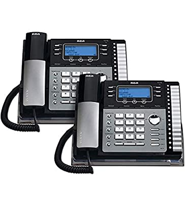 RCA 25424RE1 4-Line Expandable Phone System for Home / Office Desk - Base Speakerphone with Caller ID and Intercom, Compatible with Hearing Aids (2-Pack) from RCA