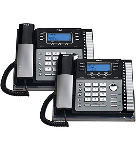 RCA 25424RE1 4-Line Expandable Phone System for Home / Office Desk - Base Speakerphone with Caller ID and Intercom, Compatible with Hearing Aids (2-Pack)