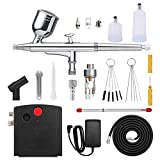 0.3mm Airbrush kit with Auto On/Off Air Compressor,Replaceable 0.4mm Nozzle Cap Needle 6cc 20cc 40cc Cup Gravity Feed Airbrush Set for Painting,Model Making and More(0 to 25 psi)