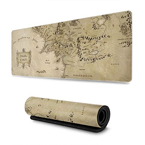 Middle Earth Map Gaming Mouse Pad XL, Extended Large Mouse Mat Desk Pad, Stitched Edges Mousepad, Long Non-Slip Rubber Base Mice Pad, 31.5 X 11.8 Inch