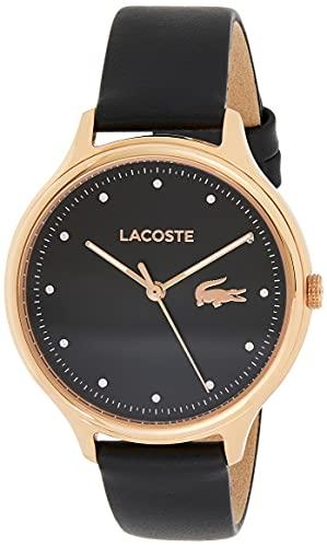 Lacoste Damen Analog Quarz Armbanduhr mit Lederarmband 2001086