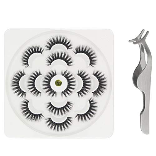 7 Paare Lotos mit falschen Wimpern des Nerzes 3D und natürlichen dichten Wimpern (7 Paar,J)