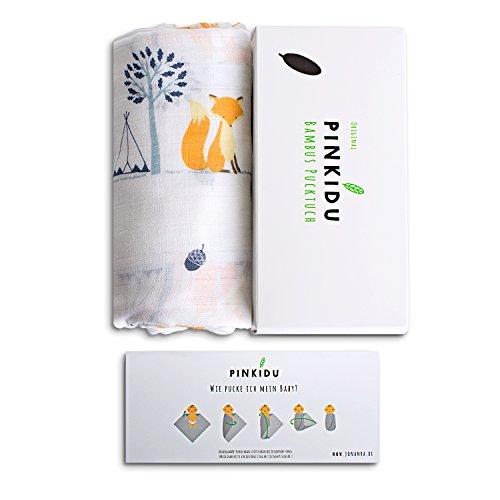 Pinkidu® Bambus Pucktuch,Premium Qualität,Baumwolle Bambus,120x120cm Motiv Fuchs