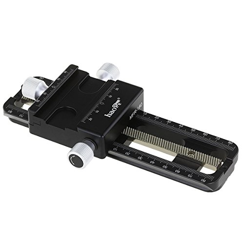 Haoge MFR-180 Macro Focusing Rail Rack Slider for Precision Focus Stacking Stack Nodal Slide Macro Close-up Close Up Photography Built-in Arca Swiss Type Quick Release Clamp and Arca Dovetail Groove