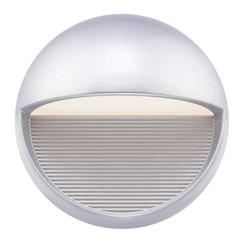 Westinghouse Lighting 6581440 – Apparecchiatura da parete da esterno LED dimmerabile Winslett a una luce, finitura in nichel lucente con vetro smerigliato