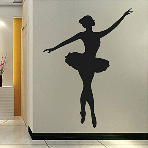 Tianpengyuanshuai Balletttänzer Wandtattoo Schlafzimmer Vinyl Wandbild Tanzstudio Wandaufkleber abnehmbare Dekoration 42X55cm